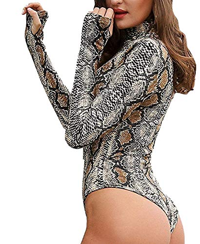 Top Print Snakeskin (Women's Animal Skin Print Fashion high Collar Long Sleeve Slim Bodysuit (L, Serpentine-Coffee Color))