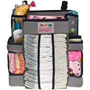 Crib and Changing Table Organizer - Non-Sagging Nursery Organizer For Diapers, Wipes, Creams, Small Toys and Other Baby Essentials (Gray)
