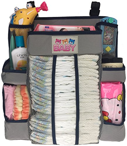 Crib and Changing Table Organizer - Non-Sagging Nursery Organizer For Diapers, Wipes, Creams, Small Toys and Other Baby Essentials (Gray) -