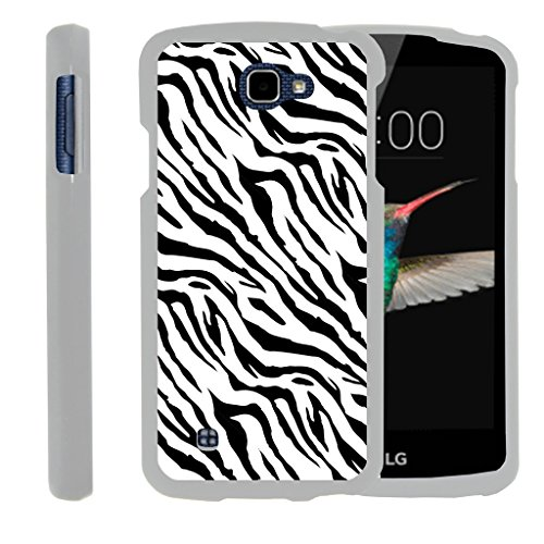 MINITURTLE Case Compatible w/ [LG K4 Case, LG Optimus Zone 3 Case, LG Spree, LG Rebel White Case][Snap Shell] 2 Piece White Design Case, Perfect Fit Hard Rubberized Cover - Zebra Pattern