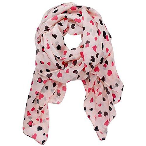 Aimery Women's Sweet Love Heart Dots Chiffon Shawl Scarf Wrap(Pink)
