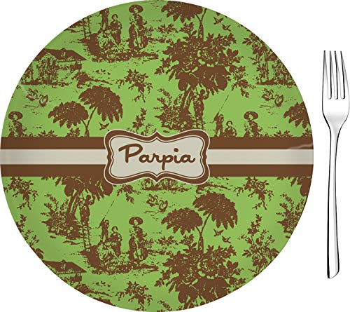 Green & Brown Toile Glass Appetizer/Dessert Plate 8
