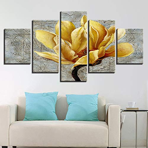 (qingyuge 5 Panels Canvas Wall Art Canvas Painting Modular Poster Home Decor 5 Pieces Wall Art Golden Yellow Flowers Paintings Gold Orchid Picture Modern Hd Print Framed)