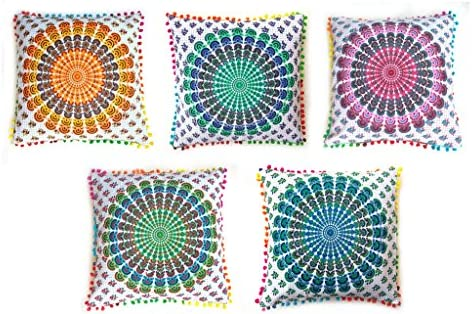 Rastogi artesanías Multicolor Pom Pom Mandala Elefante manta ...