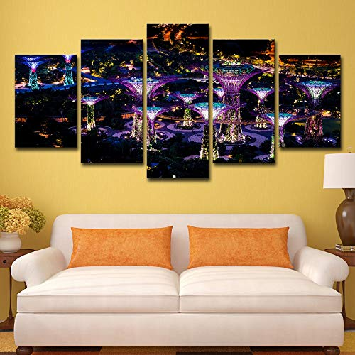 Print On Canvas Hd Canvas Art (5 Pieces/Set) Landscape Singapore Gardens Gardens by The Bay Night Print Poster Lhanging Painting for Living Room Decor No Frame