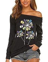 Dandelion Skull Flower Off Shoulder Shirts Womens Long Sleeve Casaul Boat Neck Blouse Tops