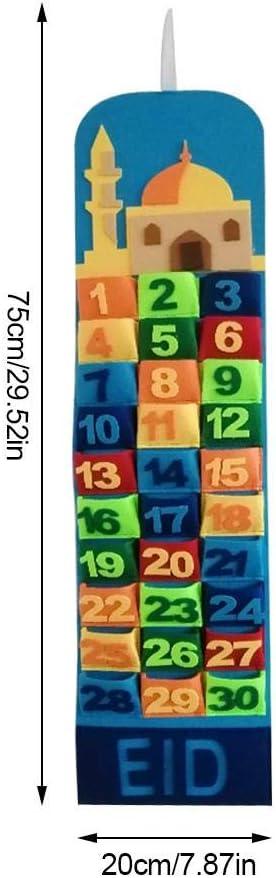 Feutre Fait /à la Main Eid Suspendus calendriers de Compte /à rebours avec Poches pour Enfants Cadeaux f/ête //Calendrier du Compte /à rebours Ramadan Eid Mubarak Mur 30 Jours Calendrier