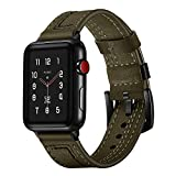 galaxy s2 vintage case - JP-DPP9 Genuine Leather Watch Bands, Fashion Durable Band Strap Wristband Replacement for Apple Watch Series 3/2/1 38MM / Apple Watch Series 4 40MM (Green)