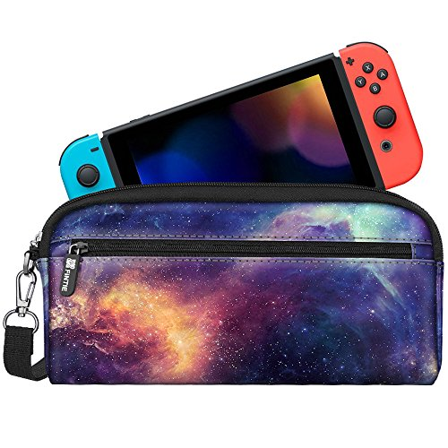 Fintie Carrying Case for Nintendo Switch, Protective Sleeve Pouch Bag with Side Pocket & Foldable Game Storage Sheet for Nintendo Switch and Accessories - Galaxy