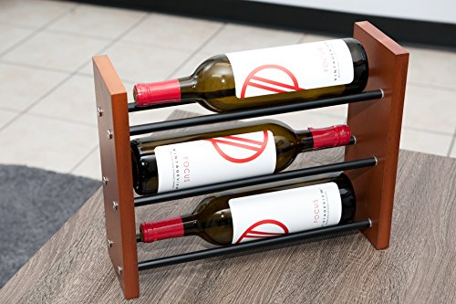 Cheap VintageView E1-TTT Evolution Series 3 Bottle Table Top Wine Rack in Satin Black with Solid Alder Wood Sides and a Cherry Finish.