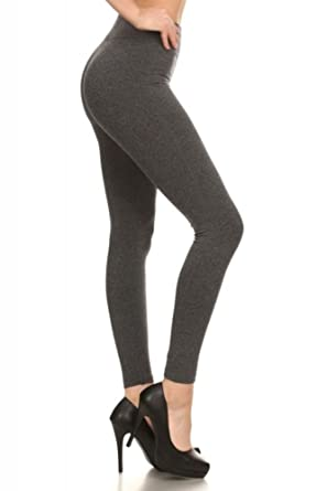 617bf855eb324 Shosho Womens Basic Solid Color Leggings Black and Charcoal Regular and  Plus Size Charcoal Small/