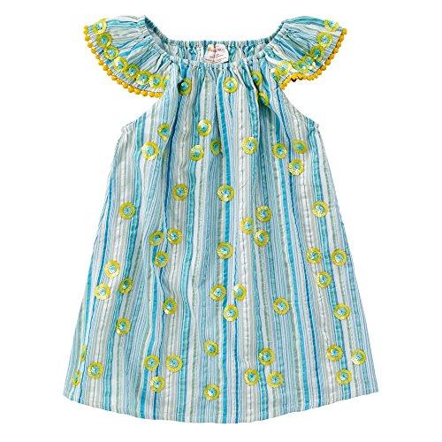 Masala Baby Girls Baby Daisy Flutter Dress Metallic Stripe Turquoise, 18-24M
