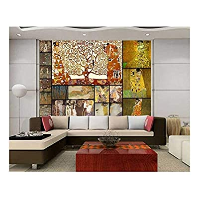 Peel and Stick Wallpapaer - Famous Paintings Collage by Gustav Klimt | Removable Large Wall Mural Creative Wall Decal - 66x96 inches