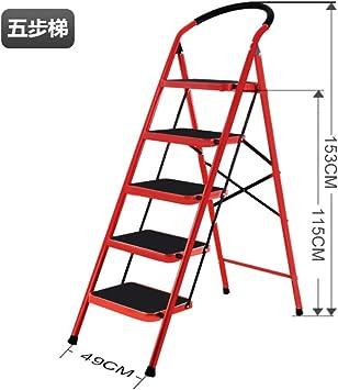 LADDER Escalera Casa Doblez Interior Cargar Los Portes Estable Multifunción Ligero Sencillo en Pequeña Escala la Seguridad Aluminio Metal Escaleras Tramo Espesar Escalera/rojo / 5 pasos: Amazon.es: Bricolaje y herramientas