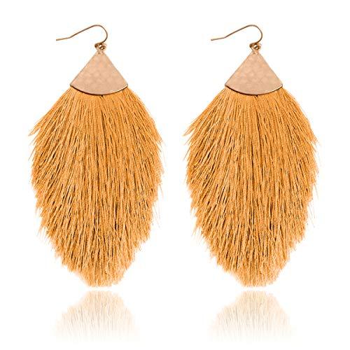 RIAH FASHION Bohemian Silky Thread Fan Tassel Statement Drop Earrings - Feather Shape Strand Fringe Lightweight Hook Dangles (Petal Tassel - Mustard) ()