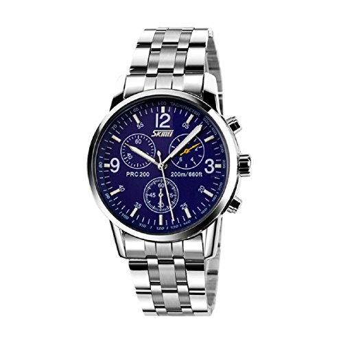 Ularmo Men Boy Stainless Steel Band Analog Quartz Sport Wrist Watch
