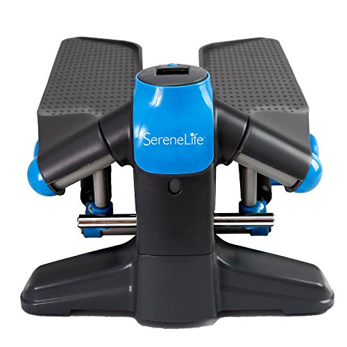 SereneLife Fitness Exercise Machine Mini Elliptical Foot Pedal Stepper or Step Trainer Equipment w/ Digital Display for Under Desk Workout, Weight Loss, Fitness & Health at Home & Office (SLXS6)