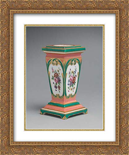 Sevres Manufactory - 28x36 Gold Ornate Frame and Double Matted Museum Art Print - Pedestal vase and Bulb Pot (piedestal en gaine) (one of a Pair)