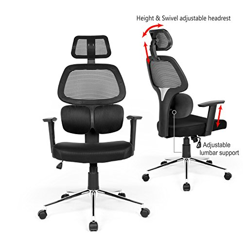Ergonomic Mesh Office Chair High Back Swiver Computer Desk Task Chairs with Adjustable Lumbar Support, Backrest, Headrest, Armrest and Seat Height for Home Office Conference Room by Coavas