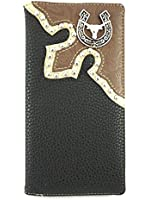 Mens Leather Western Style Checkbook Wallet with Horseshoe and Longhorn Steer