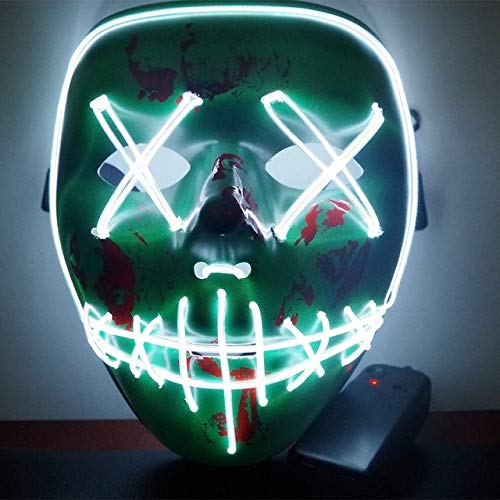 Horrible Masks - Halloween Led Luminou Mask Horror Grimace Bloody Wire Christma Club Bar Glowing - Light Block Masque Cloak Allhallow - 1PCs