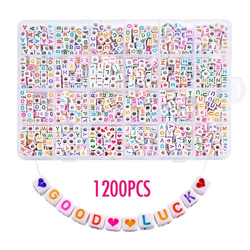 - Heflashor 1200PCS Letter Beads 6X6mm Colorful Cube Letter Beads Alphabet Letter Beads A-Z and Heart Letter Beads for Bracelets/Jewelry Making/Necklaces/Kids