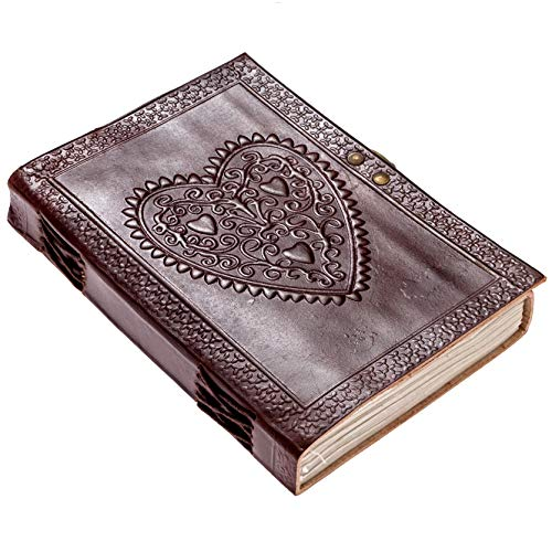 CARVEx LEATHER JOURNAL Heart Engraved Handmade Writing Notebook 7 x 5 Inches Unlined Paper, Brown Antique Leatherbound Daily Diary Notepad For Men & Women GIFT ()