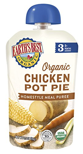 Earths Best Organic Stage 3 Baby Food, Chicken Pot Pie Dinner, Non GMO Ingredients, 4 grams of Protein, 3.5 Oz Resealable Pouch (Pack of 6)
