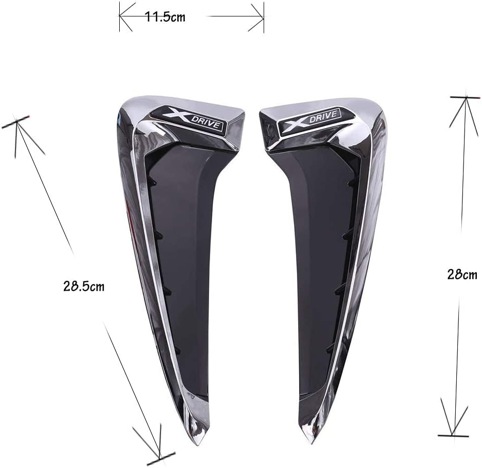 Side Air Vent Cover X DRIVE-Black + Silver 1 Pair ABS Plastic Front Fender Side Air Vent Cover Trim for B MW X5 F15 2014-2017