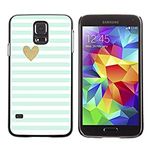 LECELL--Funda protectora / Cubierta / Piel For Samsung Galaxy S5 SM-G900 -- Blue White Baby Stripes Pattern Heart --