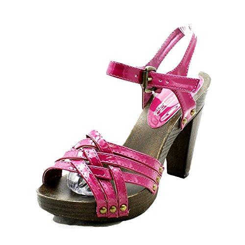 Ladies with Sandals Wooden Effect Heel Block Patent sendit4me Magenta w6tdRt