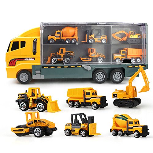 Jenilily Construction Truck Vehicle Container Car Toy Set Trucks Excavator Cement Truck Dumper Bulldozer Forklift Road Roller for Children Kids (7 in 1)