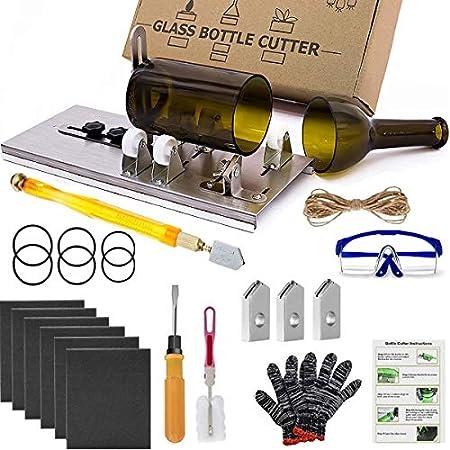 Acmerota Cortador de botellas de vidrio, kit de herramientas de corte de botellas mejorado, cortador de vidrio para botellas para cortar vino, cerveza, licor, whisky, alcohol, champán