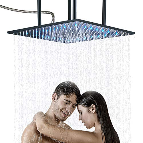 Senlesen High Pressure Bathroom LED Light 20-inch Square Rainfall Top Shower Head Ceiling Mounted Black Color