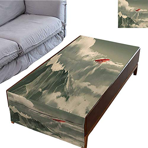 DESPKON-HOME Rectangular Tablecloth Decorative Tablecloth for Dining Room House Biplane Flying Over Mountain Range Inside Storm Clouds Digital Paint Red 27.5
