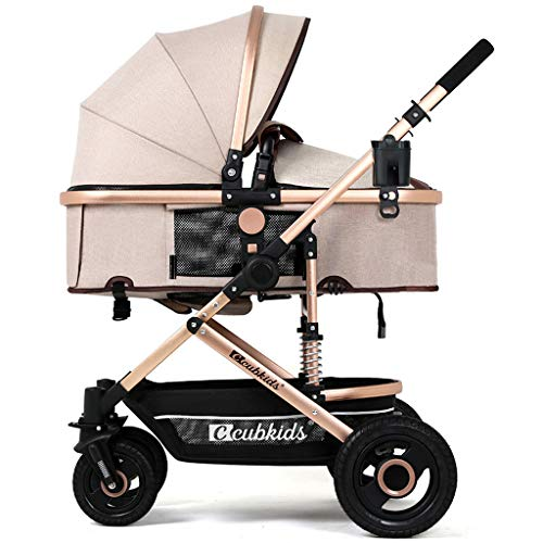 TYX-FSJ Baby Cart High Landscape Light Can Sit and Lie Down Fold Suspension Four Rounds Baby Baby Carriage Trolley Baby Cot,D