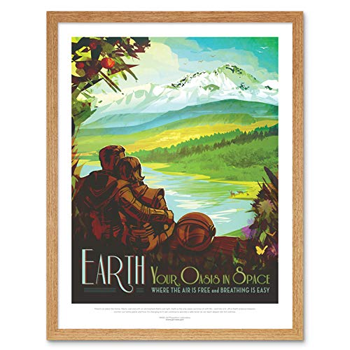 Earth Space Oasis NASA Space Tours Travel Art Print Framed Poster Wall Decor 12x16 inch ()