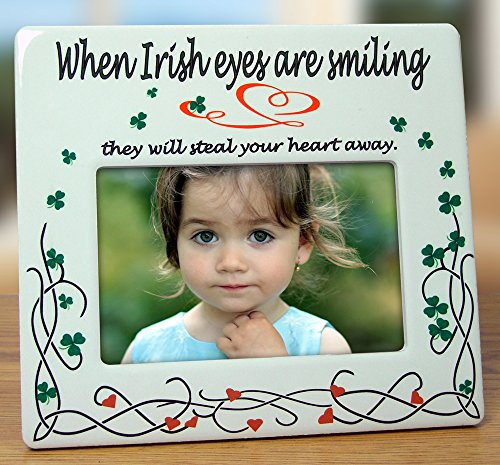 Irish Photo Frame Celtic Picture Frame - When Irish Eyes are Smiling - Ceramic - 8''W by Banberry Designs
