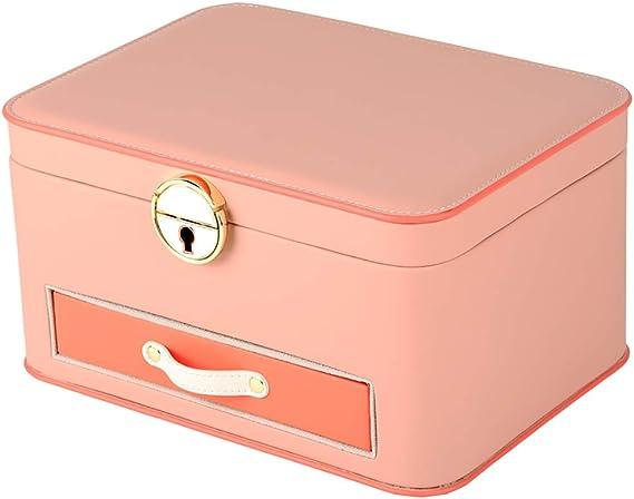 SSH-Jewelry Box Caja De Joyas, Organizador De Joyas, con Espejo, Estuche De Viaje PortáTil, para Anillos, Pendientes, Collares, Forro De Terciopelo (Rosa): Amazon.es: Hogar