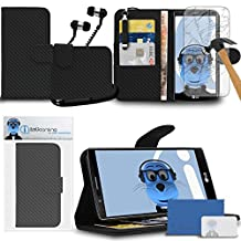 LG G4 H815 Carbon Fibre / Fiber Black PU Leather Wallet Case with Credit Card Holder and Viewing Stand - Tempered Glass LCD Screen Protector - Retractable Mini Stylus Pen - 3.5mm ZIPPER Stereo Hands Free HeadPhones with Mic
