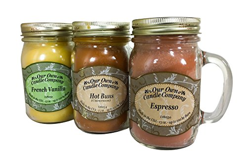 (Our Own Candle Company Our Own Espresso, Hot Buns, and French Vanilla-Latte Da Variety Scented Mason Jar Candles, 13 oz (3 Pack))