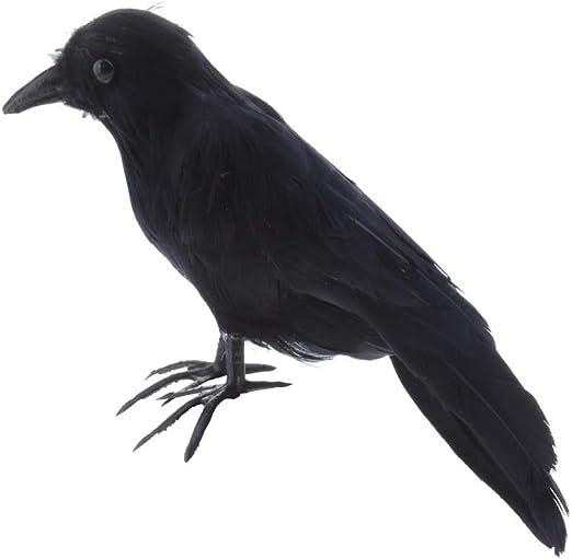 RUIMA 1PCハロウィンリアルな鳥ブラック・クロウズハロウィンプロップ装飾アウトドアや室内装飾