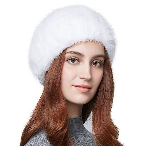 Womens Winter Beret Beanie Real Mink Fur Beret Hat for Women French Style
