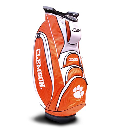 Team Golf NCAA Clemson Tigers Victory Golf Cart Bag, 10-way Top with Integrated Dual Handle & External Putter Well, Cooler Pocket, Padded Strap, Umbrella Holder & Removable Rain Hood
