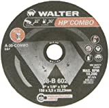 Walter HP Combo Grinding Wheel, Type 27, Round Hole, Aluminum Oxide, 6'' Diameter, 1/8'' Thick, 7/8'' Arbor, Grit A-30-COMBO (Pack of 25)