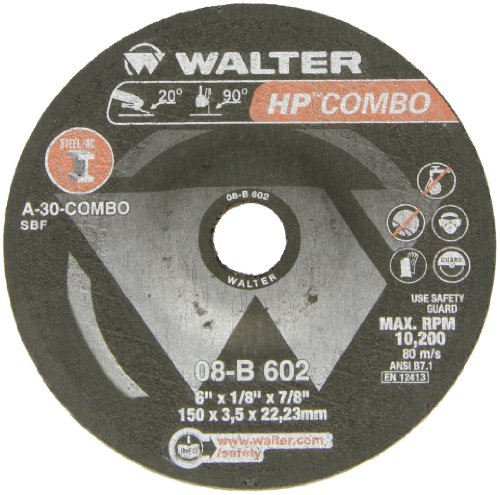 Walter HP Combo Grinding Wheel, Type 27, Round Hole, Aluminum Oxide, 6'' Diameter, 1/8'' Thick, 7/8'' Arbor, Grit A-30-COMBO (Pack of 25) by Walter Surface Technologies