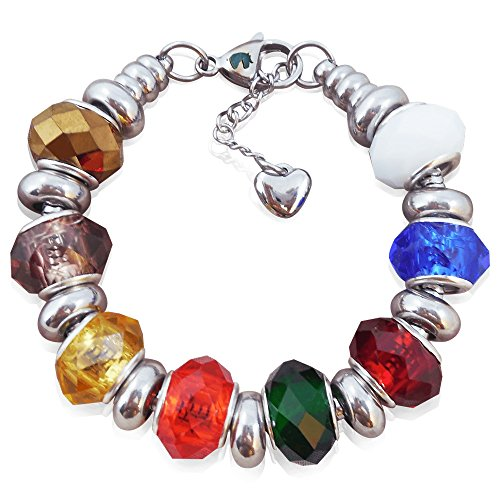 (European Charm Bracelet With Bead Charms For Teen Girls, Stainless Steel Snake Chain, Rainbow Glass 7.5 Inch)