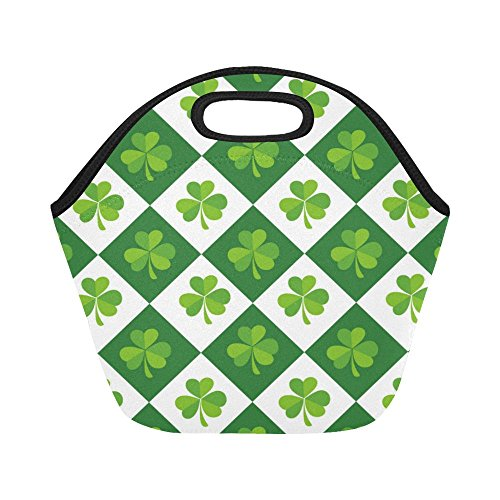 InterestPrint Insulated Lunch Tote Bag Luck shamrock Clover Tartan Reusable Neoprene Cooler, Saint Patrick's Day Portable Lunchbox Handbag for Men Women Adult Kids Boys Girls
