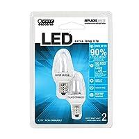 Feit Electric BPC7 /LED Tres LED bombilla de noche con base de candelabro, transparente, paquete de 2