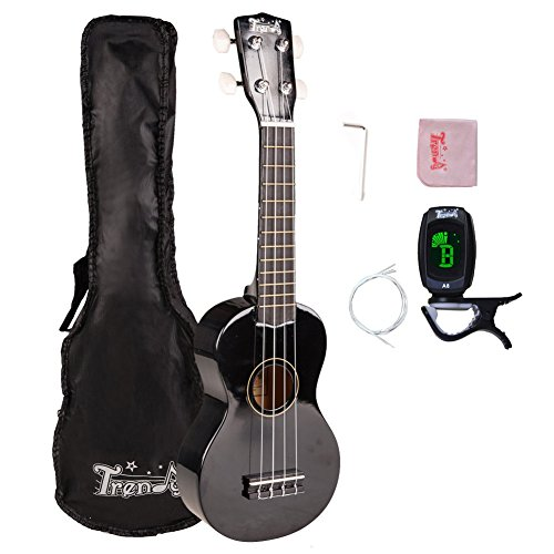 Trendy Traditional and Painted Economy Hawaiian Soprano Ukulele Starter Pack 21 Inch Standard Model Black